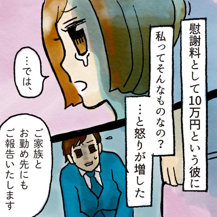 慰謝料として10万円という彼に私ってそんなものなの?と怒りが増した