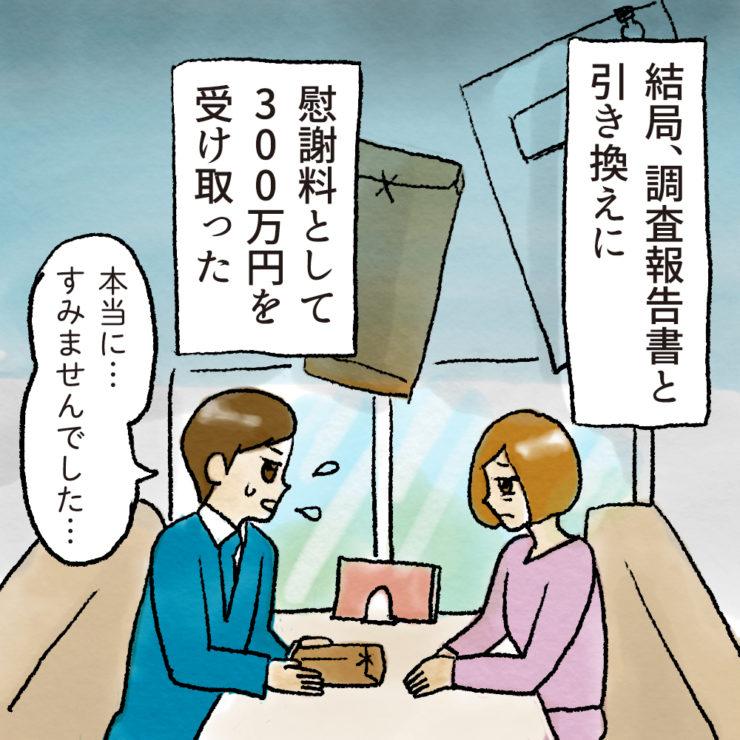 結局、調査報告書として引き替えに慰謝料として300万円を受け取った